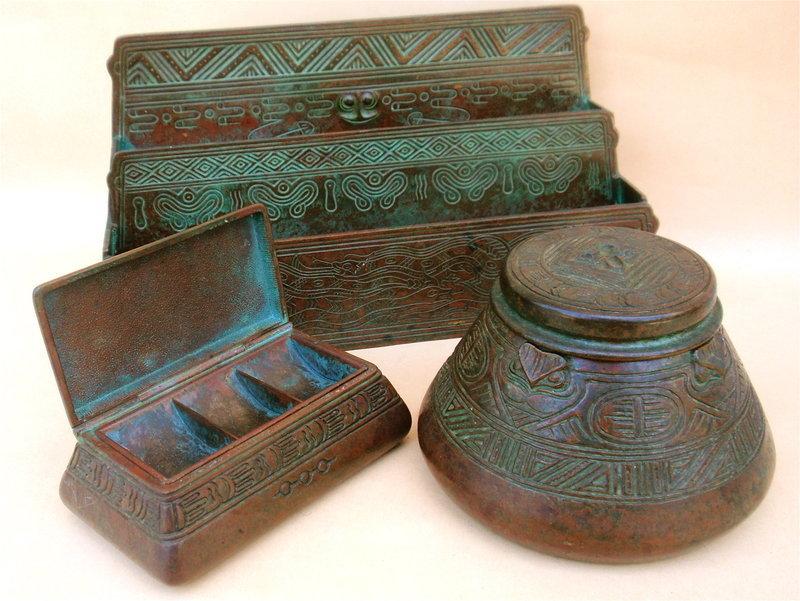 Tiffany Studios bronze Indian pattern desk set