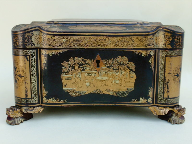 Chinese Chinoiserie Tea Caddy Antique