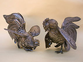 Pair Roosters Sterling silver fine sculpture