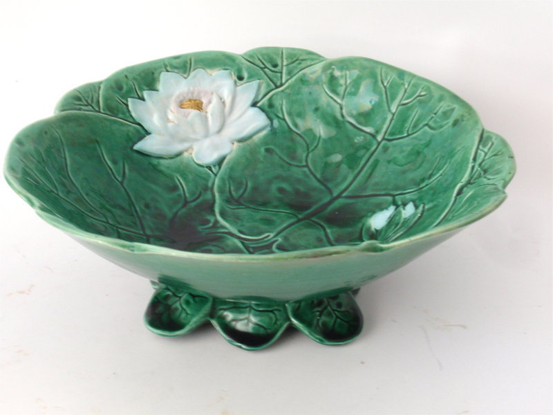 Majolica Water Lily Lotus Flower Bowl By Holdcroft Item 1261278