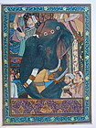 Indian Painting on silk Elephant Shaw Jehan returns