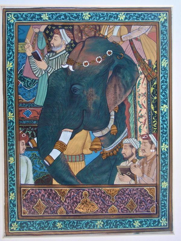 Indian Painting on silk Elephant Shaw Jehan returns
