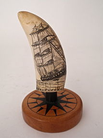 Scrimshaw Whales Tooth by Jon Laubin Sailing Ship
