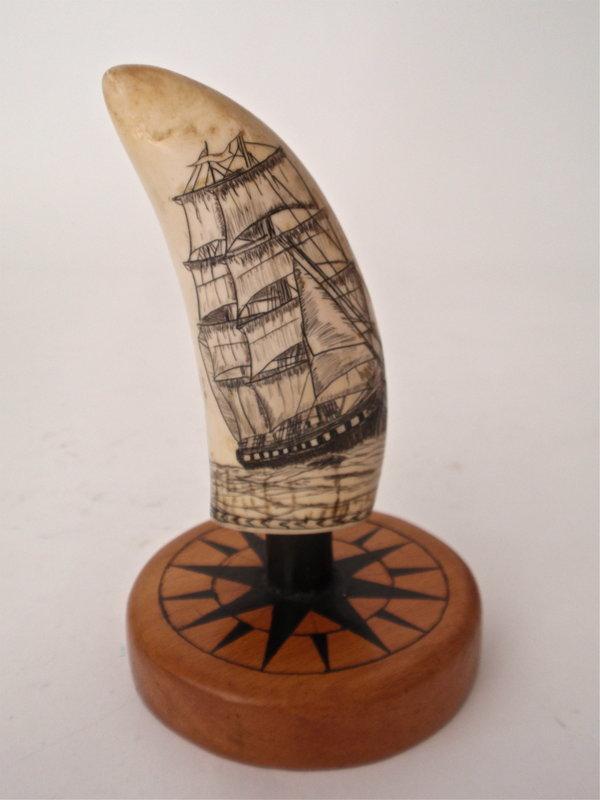 Scrimshaw Whales Tooth by Jon Laubin Sailing Ship