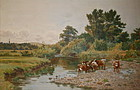 Cattle by a stream Leopold Rivers 1882 British Art