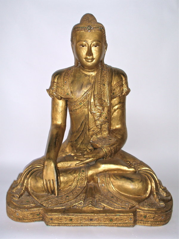 """Burmese Buddha Mandalay style large 37"""" gilt wood"""