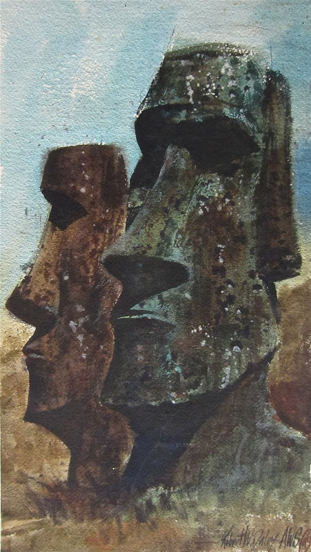 Stone Figures Easter Island Robert Daley AWS watercolor