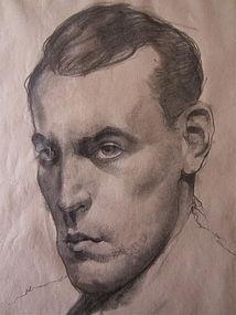 Balthus Drawing Portrait of a Man French Modernist