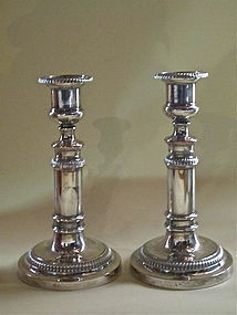Pair Mathew Boulton Sheffield Silver Candlesticks c1790
