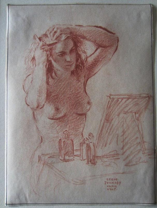 Serge Ivanhoff Drawing Nude Paris 1945 Russian Art