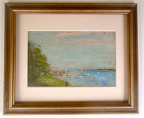 Frederick Wagner bay landscape sail boats American Impressionism