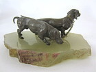 Austrian Vienna miniature Bronze Dachshunds sculpture