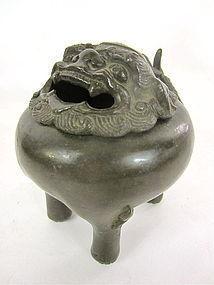 Antique Chinese Bronze Foo Dog Censer Incense burner