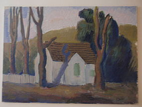 Harold Davies Fauvist Landscape with House