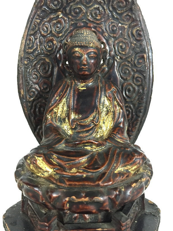 Japanese Buddha Gilt Lacquer Carved wood