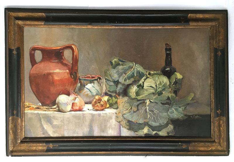 Italian Oil Painting Still Life Table setting