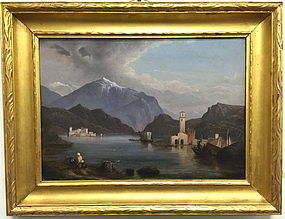 Italian Oil Painting Lake Como Vista 19th century