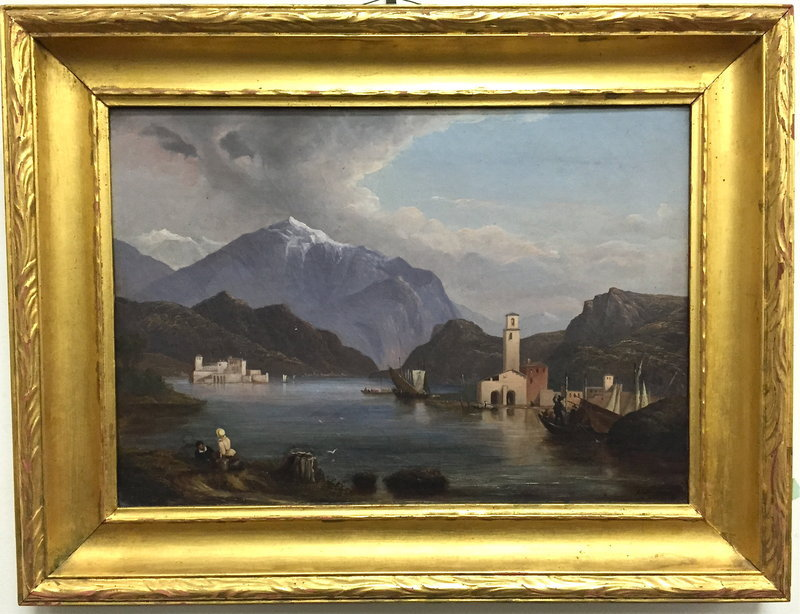 Italian Oil Painting Lake Como Vista 19th century