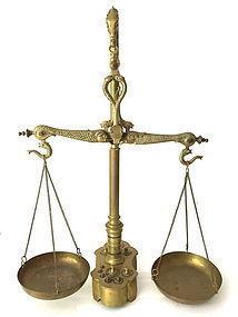 Antique Brass Balance Scale & Weights Serpent Dolphin motif
