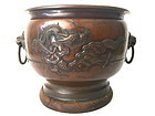 Japanese Bronze Planter dragon Mt. Fuji motif Meiji era