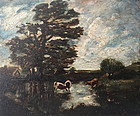 Jules Dupre French Barbizon Landscape Cattle Cottage