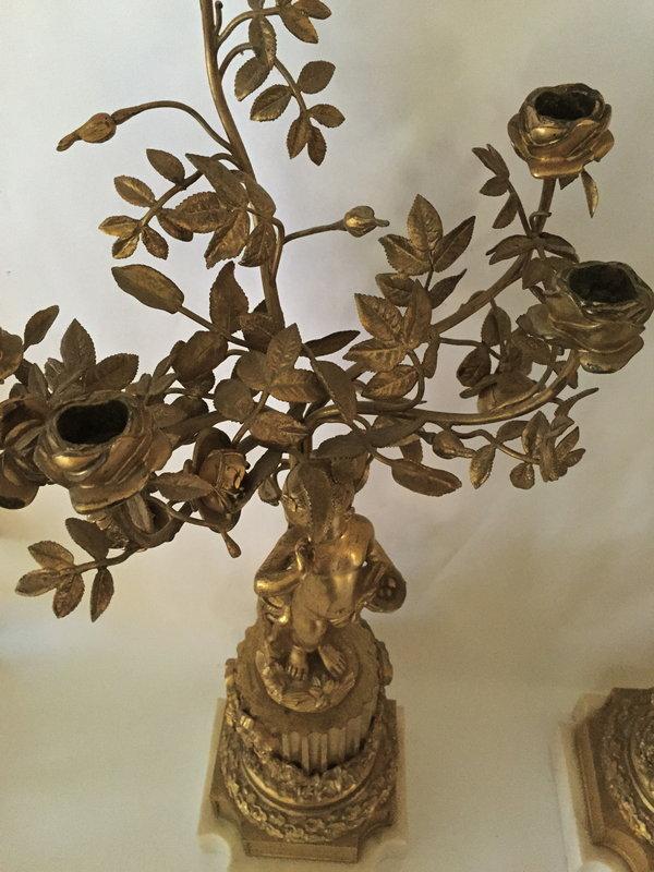 Antique French gilt bronze candelabra c.1860