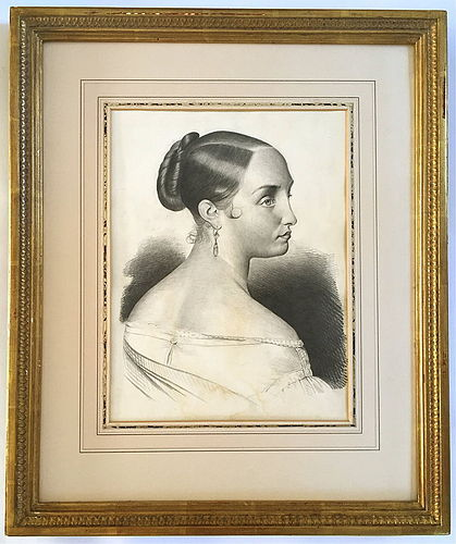 French portrait Woman master drawing c.1847 antique fine art