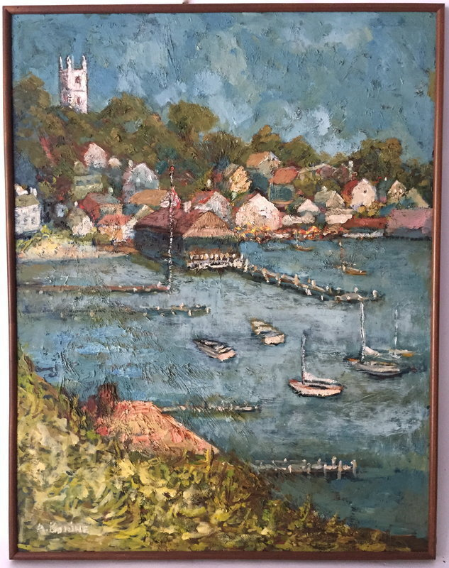 Martha's Vineyard harbor Edgartown Ma. Oil by A. Bonine