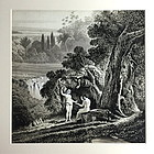 Adam and Eve antique watercolor illustration