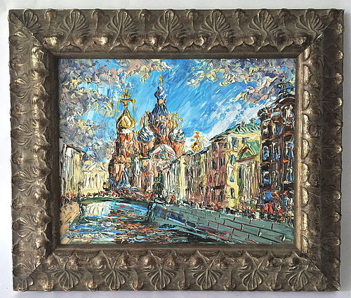 Russian Impressionist Oil Trinity Church St. Petersburg