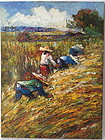 South East Asian Farmers Impressionist Oil painting