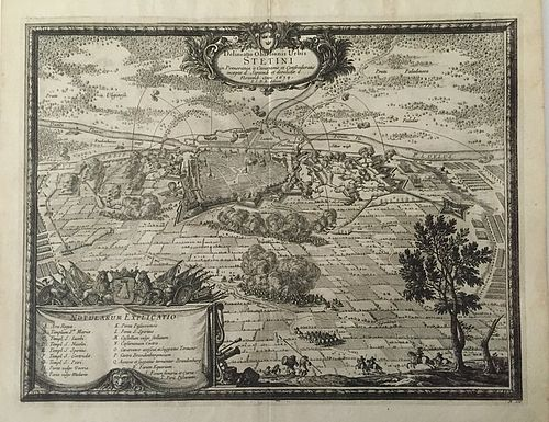 Antique Map Delineatio Obsidionis Urbis Stetini in Pomerania