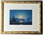 Italian Neapolitan Gouache Moonlight Bay of Naples Painting