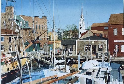 Watercolor Bowen's Wharf Newport Rhode Island by Glover