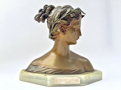 Italian Bronze Bust Woman Antonio Garella Sculpture