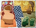 Modernist Abstract Watercolor Still life Roger Stokes
