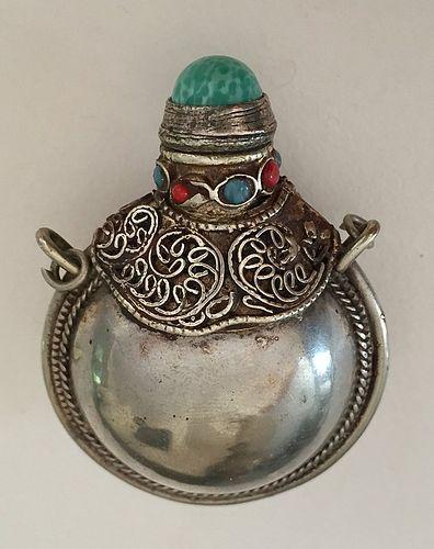 Antique Tibetan Pendant Scent bottle Silver Torquoise Coral