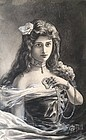 Antique Portrait Woman with her Jewelry Gouache Watercolor