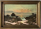 California Impressionist Monterey Sunset 1931 by Halls