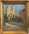 European Cathedral Jules Pages Impressionist Oil Painting