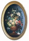 Dutch Antique Oil Still Life of Flowers by Dovich