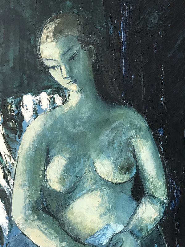 Vintage Post Impressionist Nude Female Oil Painting