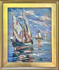 Sail Boats Vintage Italian Oil Painting c.1940