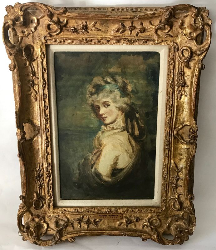 George Romney Portrait Painting of a Lady in Watercolor
