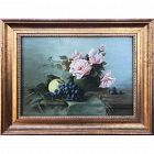 19th C French Roses & Wine Grapes Still Life Painting