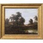 Antique Landscape Oil Painting With Cottage and Sheep