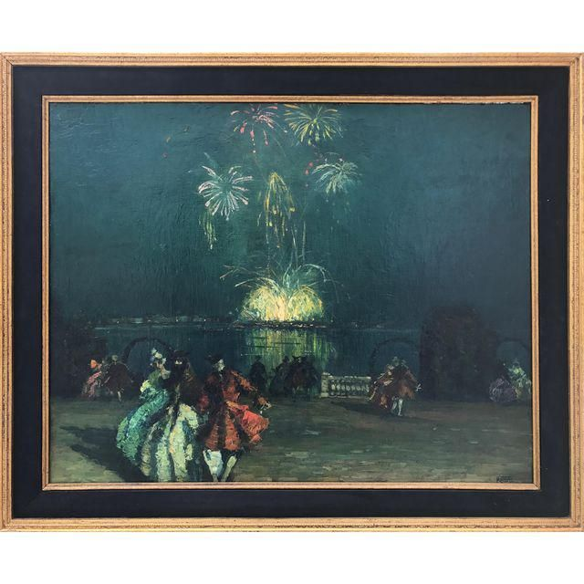Antique French Oil Painting Bastille Day Fireworks Paris Nocturne