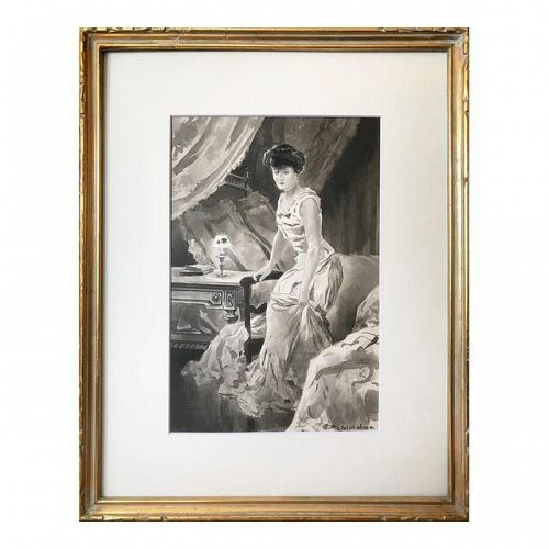C.1890 Antique Watercolor Painting Victorian Womans Boudoir