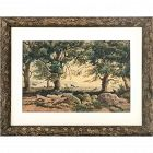 19th C. French Watercolor Painting Figures Forest Landscape by Rouet