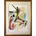 Vintage Abstract Figural Watercolor Mid Century Modernism Art